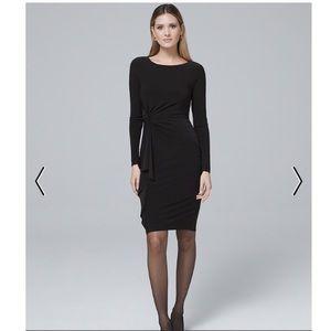 WHBM TWISTED-FLOUNCE BLACK KNIT SHEATH DRESS